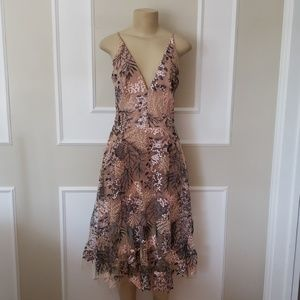 Dress the Population Dresses - Dress the population floral embroidered nude dress